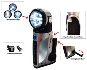 MAGNETIC DYNAMO RECHARGEABLE CORDLESS CAMPING LANTERN TORCH WORK LIGHT